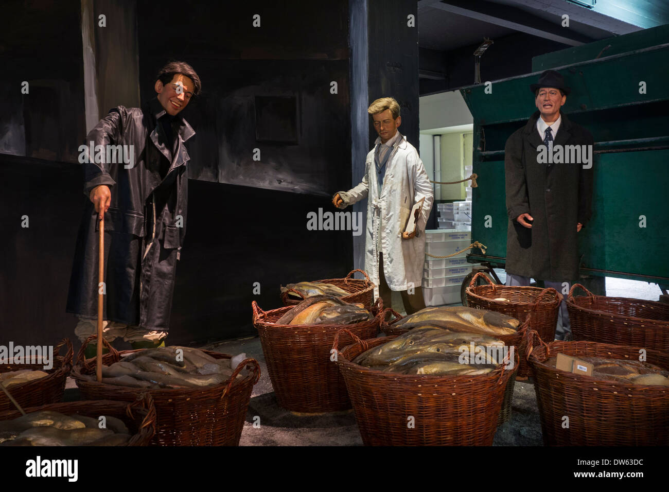 Diorama showing fish auction in fish market at the Seafront Maritime Theme Park in Zeebrugge, Belgium - Stock Image