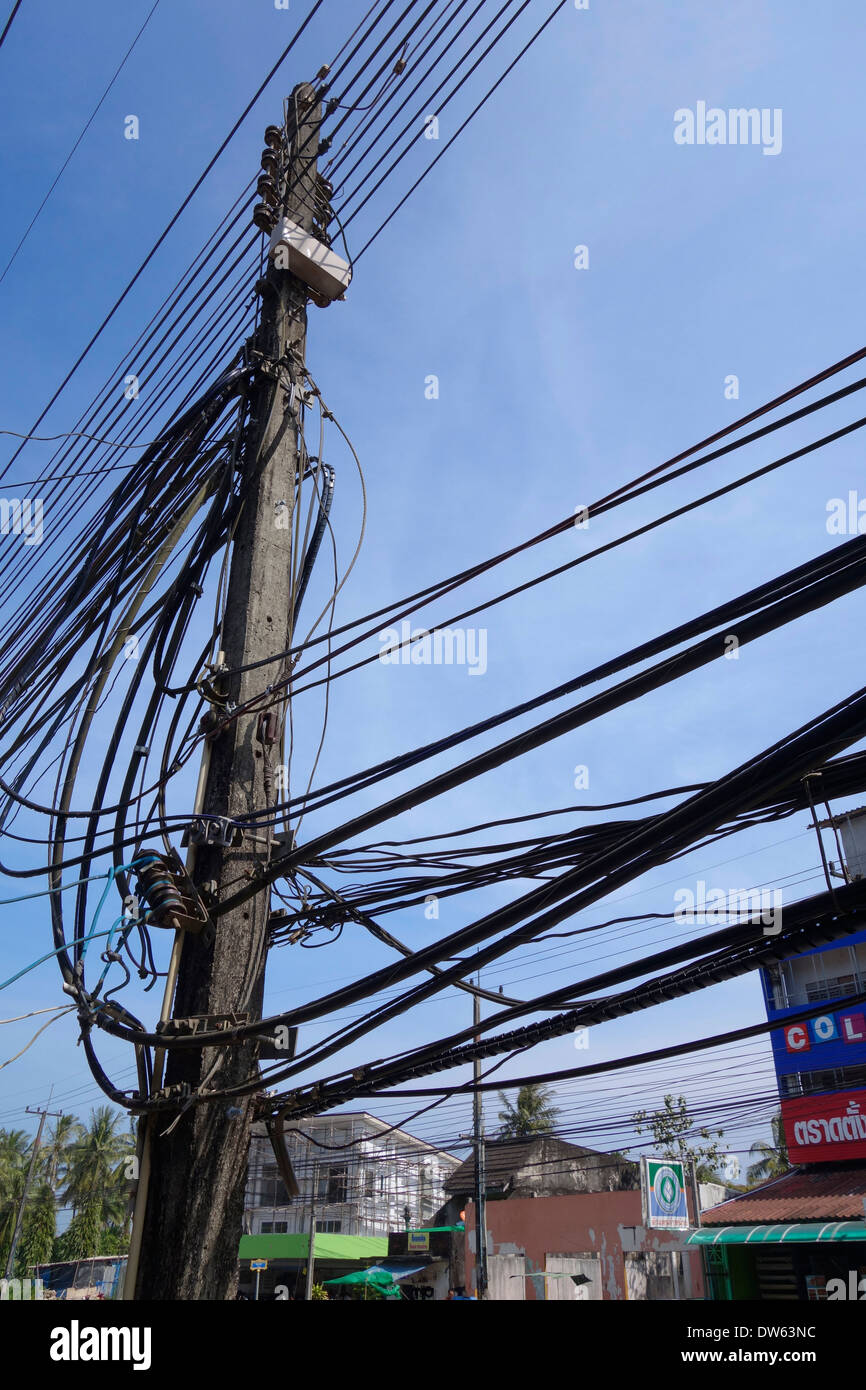 Electrical wires along the main street in Trat, Thailand Stock Photo ...