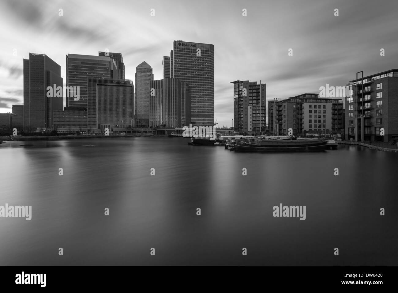 Sunset at Canary Wharf, London, England. - Stock Image