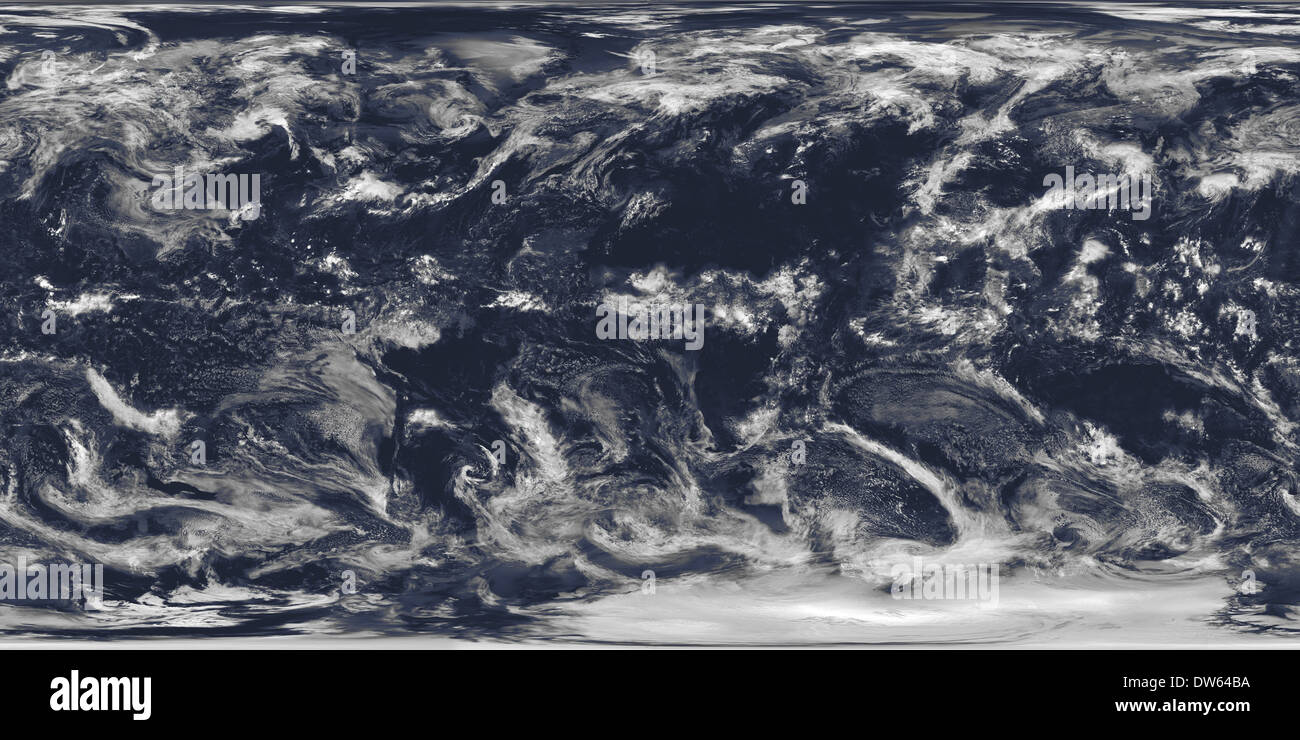 """This spectacular """"blue marble"""" image is the most detailed true-color image of the entire Earth to date. Shows cloud cover. NASA - Stock Image"""
