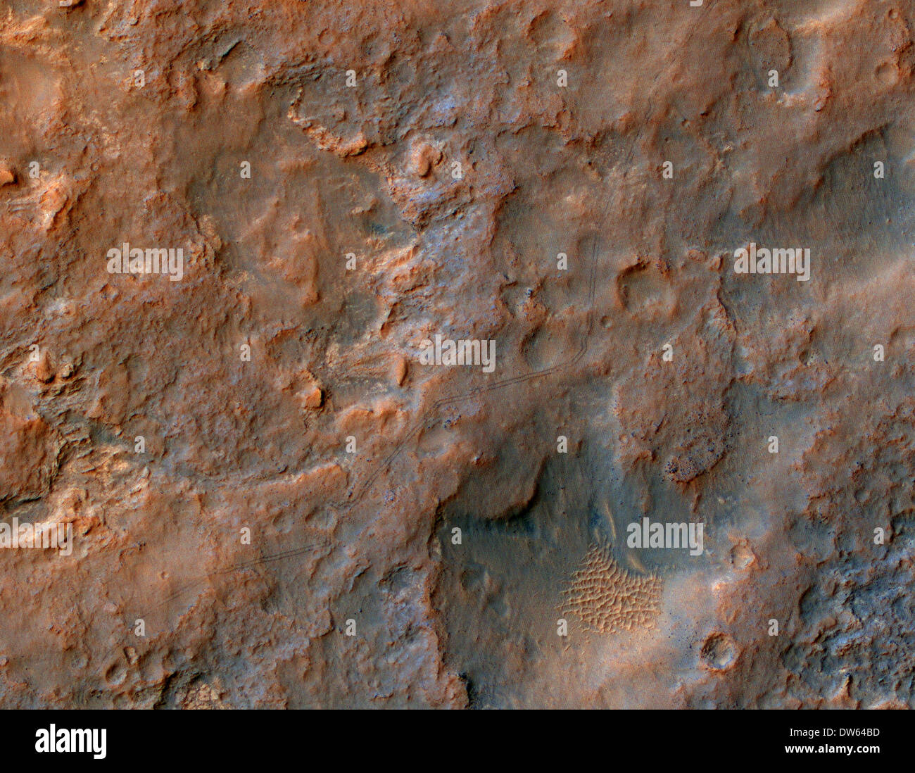 Visible tracks of the Mars rover Curiosity seen from aerial view seen from NASA's Mars Reconnaissance Orbiter. - Stock Image