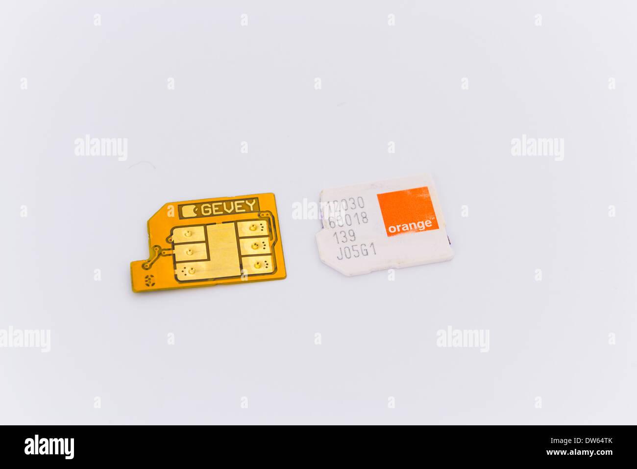 Gevey Ultra S unlock solution for iPhone smartphones and Orange microSIM - Stock Image