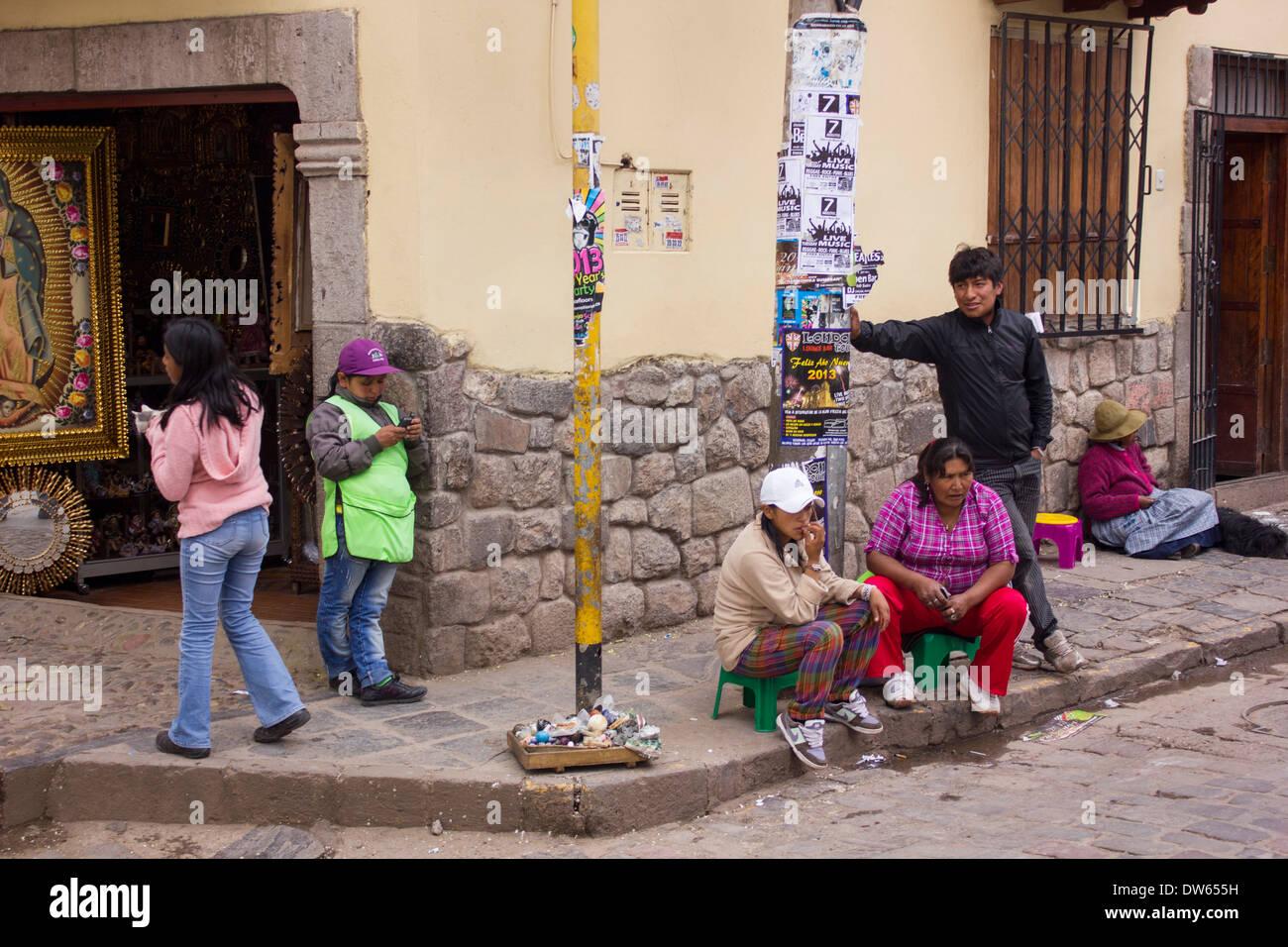 street vendors, Cuzco, Peru - Stock Image