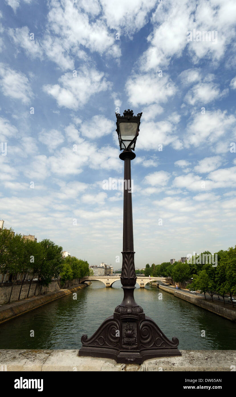 The River Seine and Ile St Louis as seen from Pont Marie, Paris, France - Stock Image