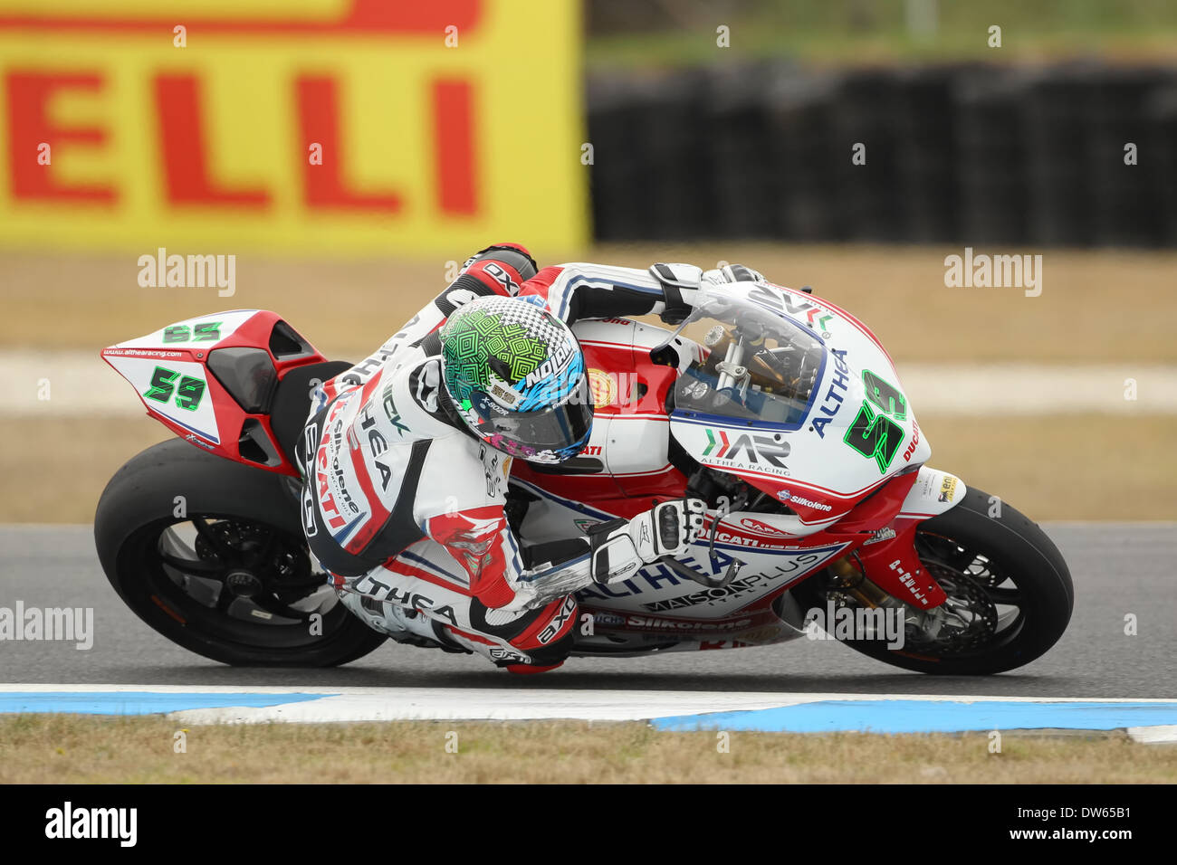 Althea Ducati rider Niccolo Canepa during free practice at the Phillip Island round of the 2014 FIM World Superbike Stock Photo