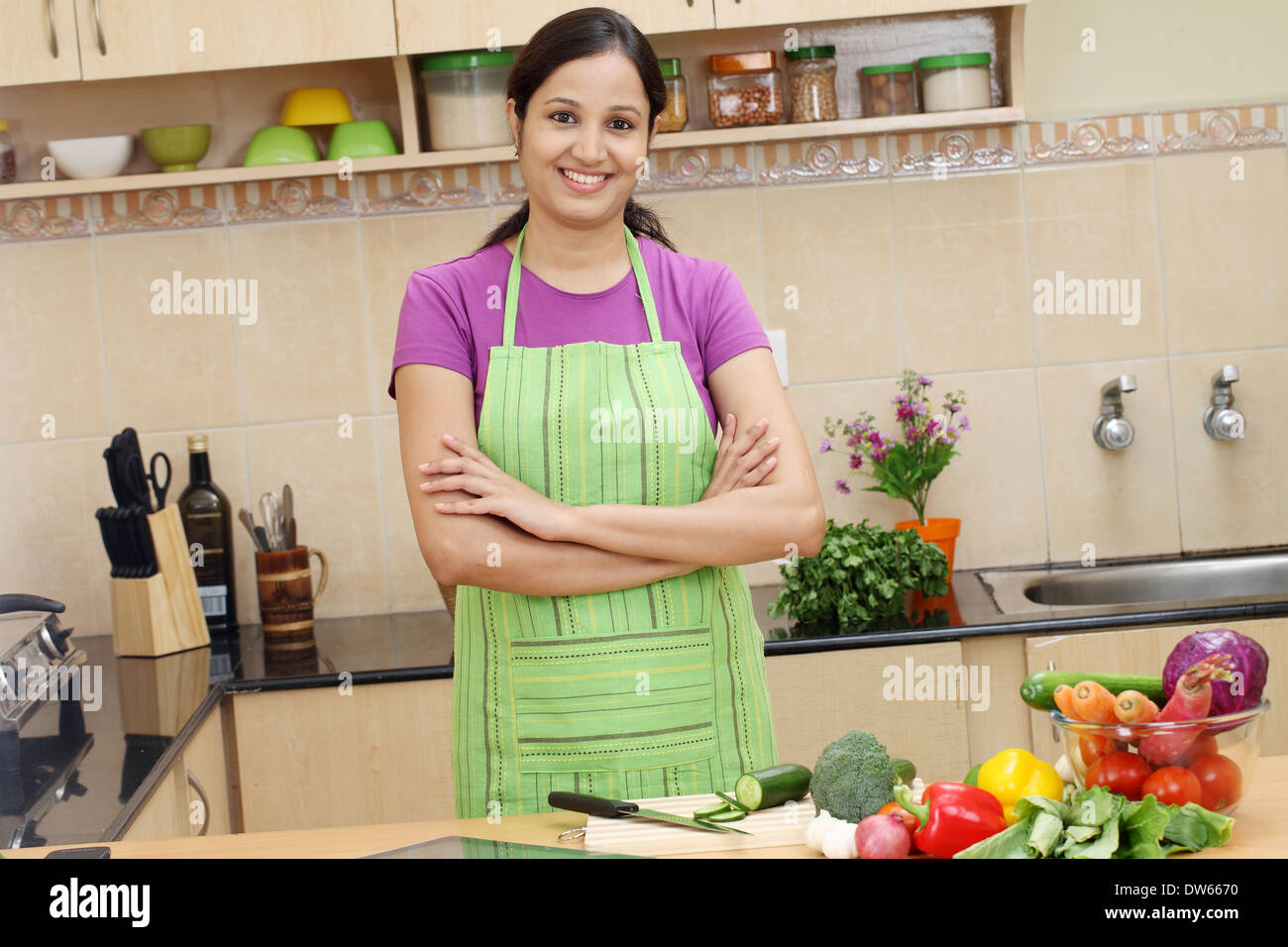 Indian Adult Woman Housewife Kitchen Stock Photos Indian Adult