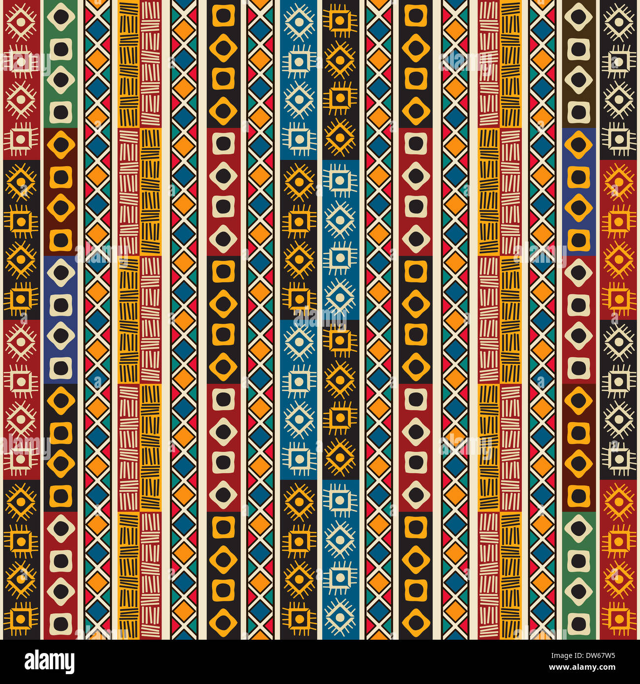 Colorful Ethno Seamless Pattern Design With Graphic Elements.   Stock Image