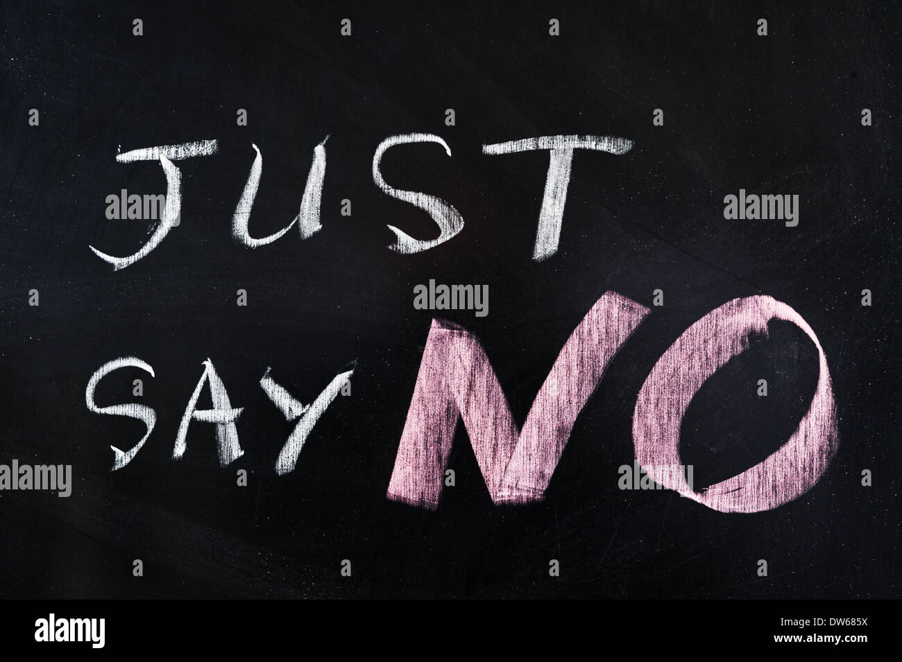 Just say NO words written on blackboard - Stock Image