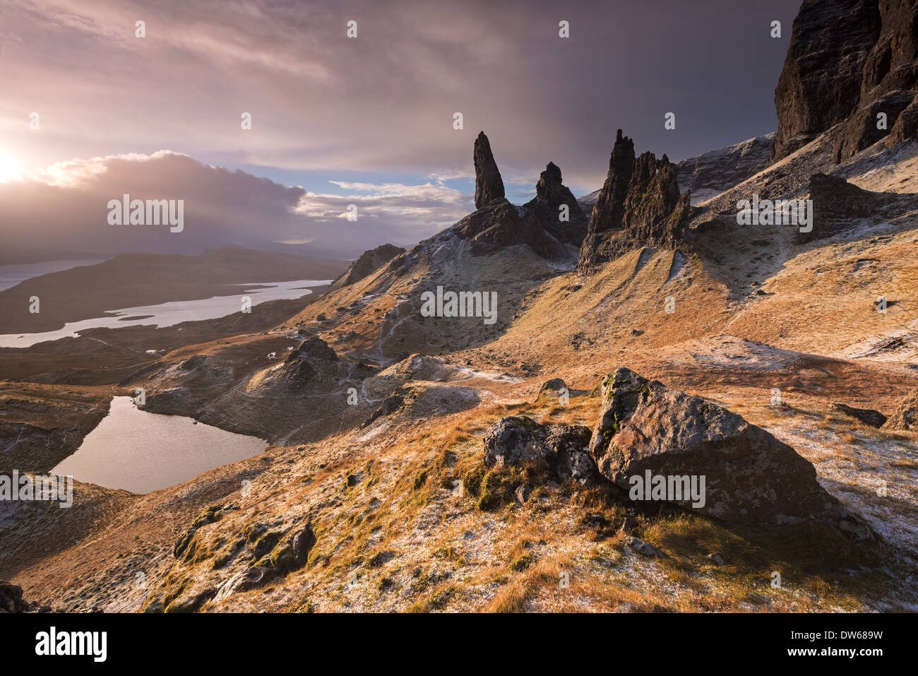Dramatic scenery at the Old Man of Storr, Isle of Skye, Scotland. Winter (December) 2013. Stock Photo
