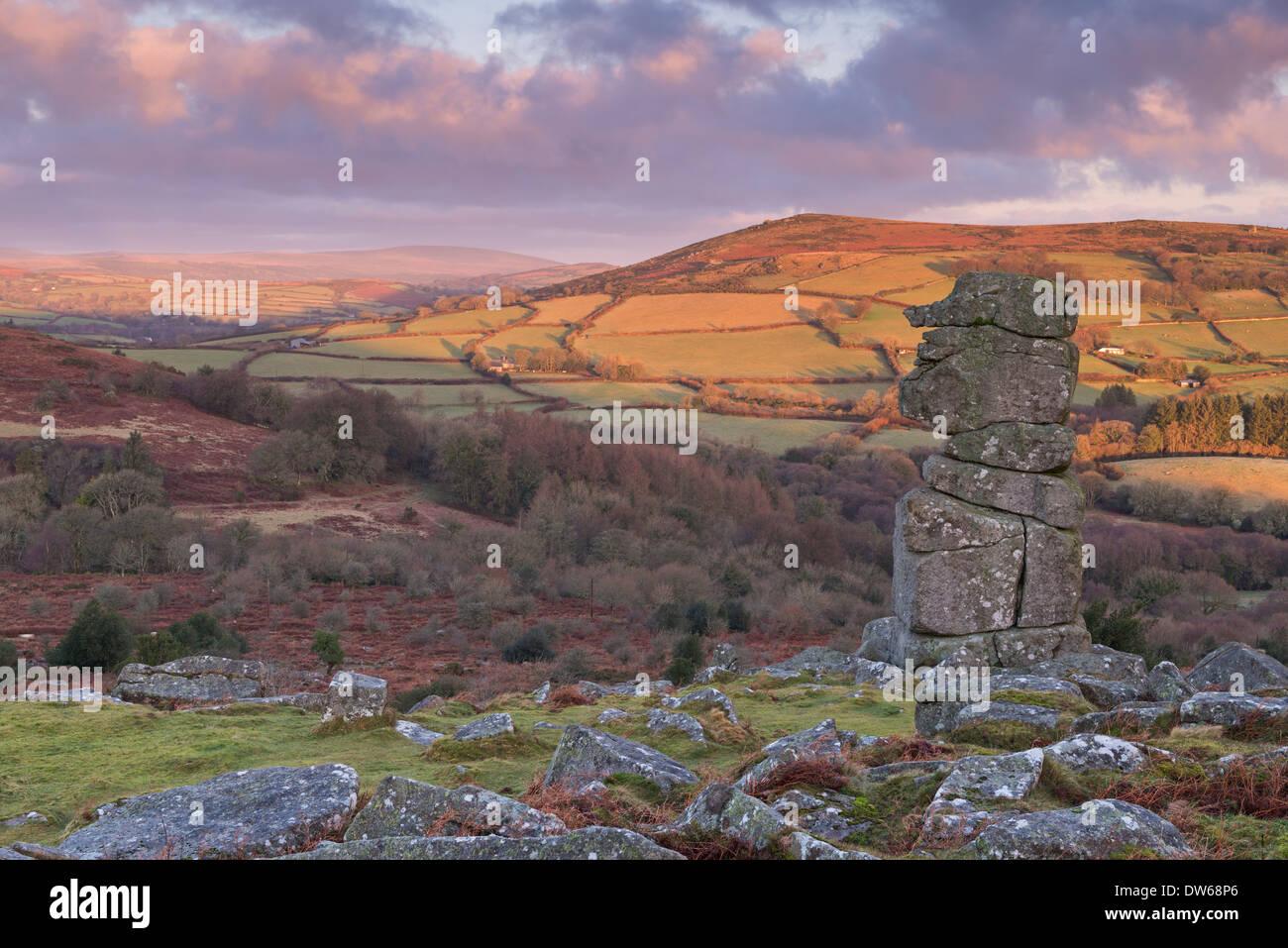 Bowerman's Nose on Dartmoor, Devon, England. Winter (January) 2014. - Stock Image