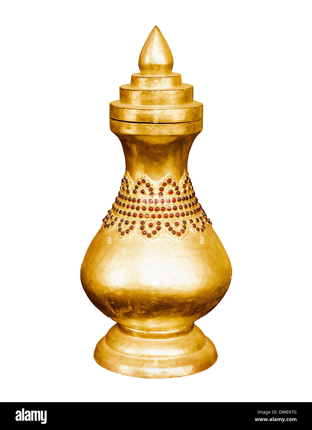 Vintage golden vessel isolated on white background. Myanmar, Mandalay Stock Photo