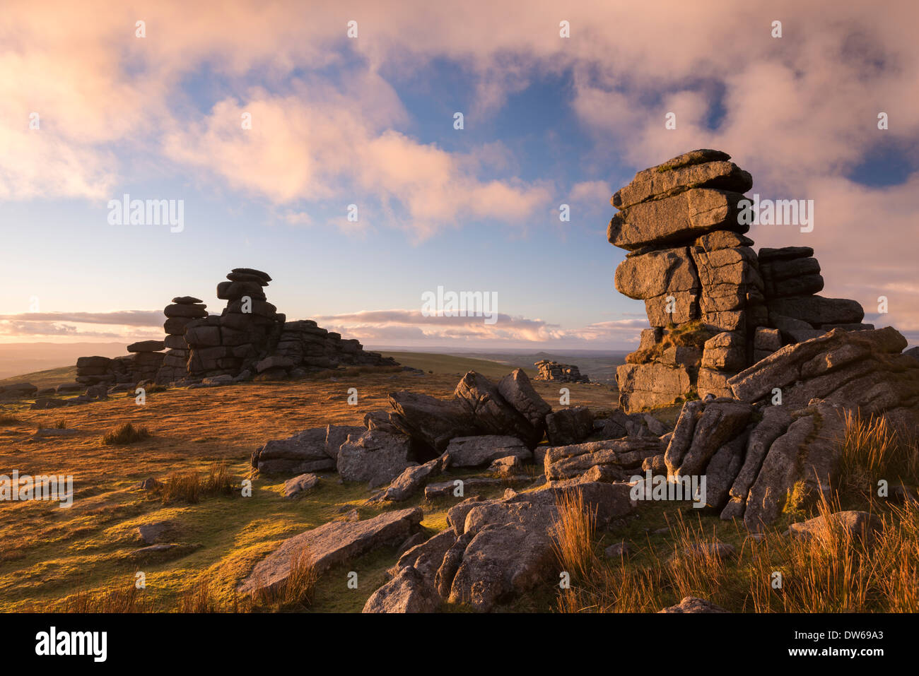 Gorgeous evening light at Great Staple Tor in Dartmoor, Devon, England. Winter (January) 2014. - Stock Image
