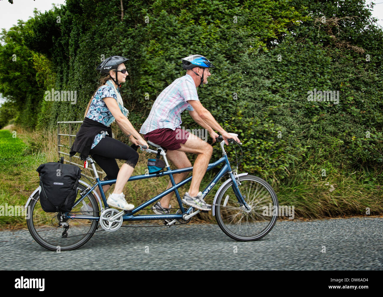Cycling on tandem bicycle - Stock Image