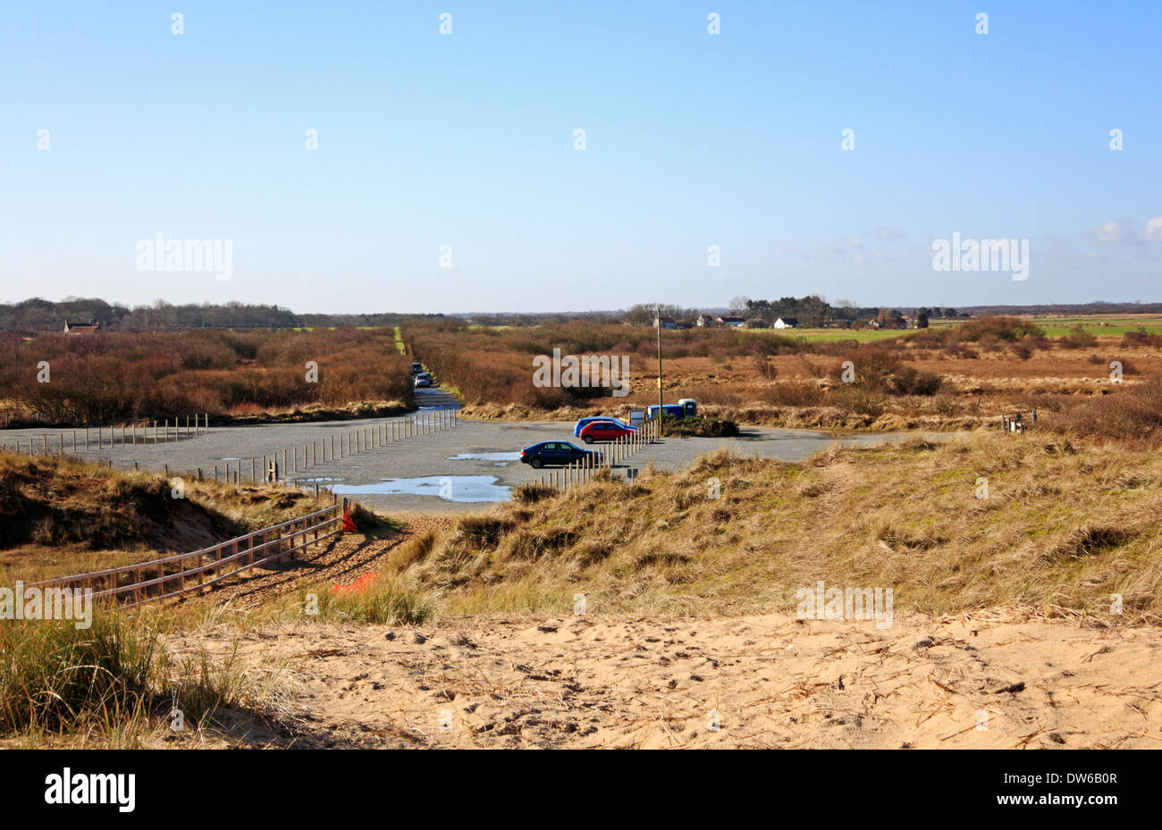 A view of the car park at Horsey Gap, Norfolk, England, United Kingdom. - Stock Image