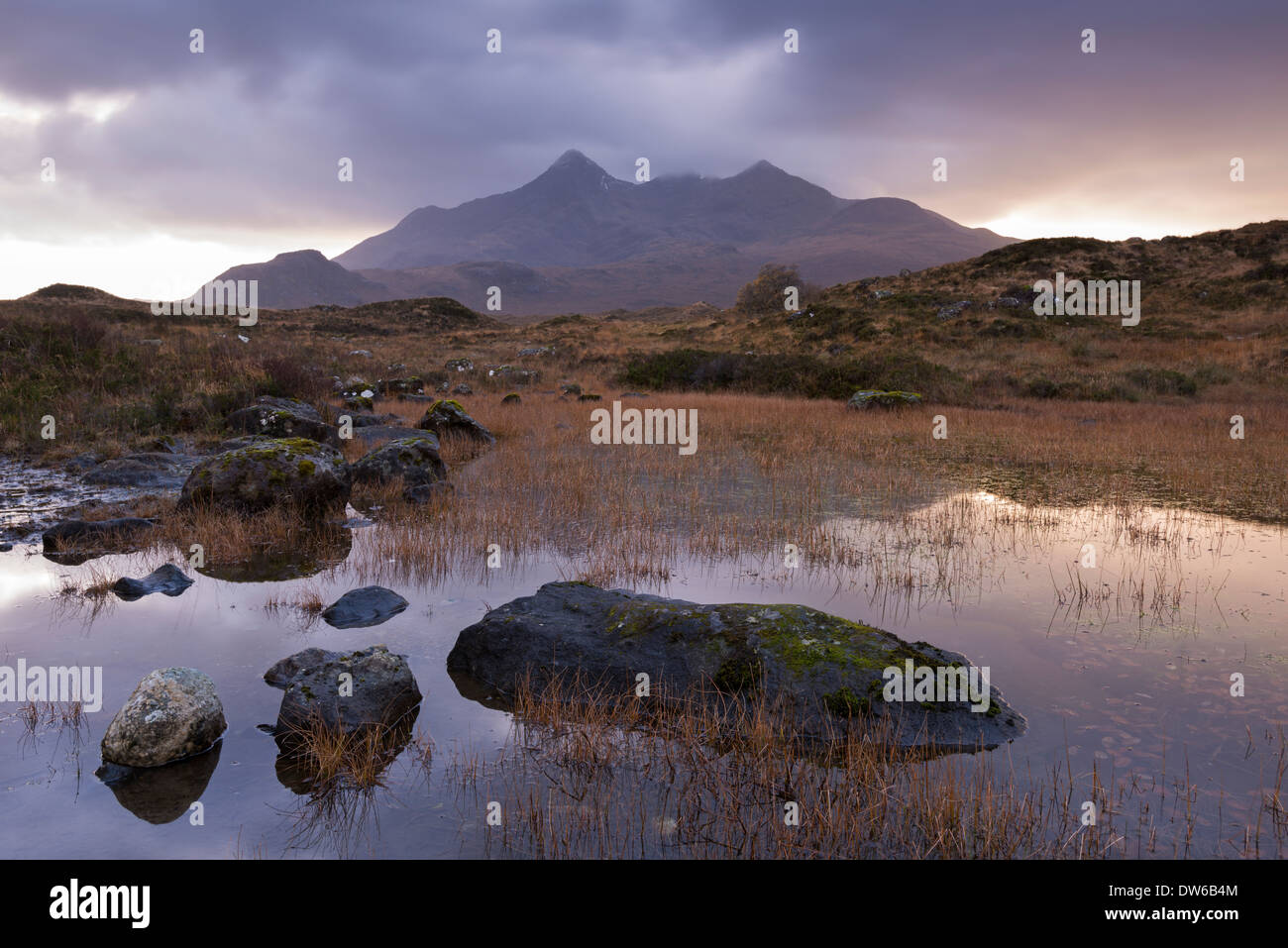 The Cuillin mountains from Glen Sligachan, Isle of Skye, Scotland. Winter (November) 2013. - Stock Image