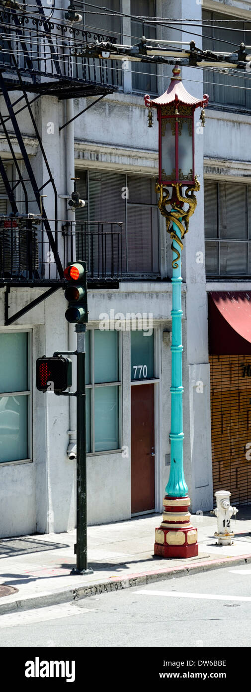 china town street lamp lantern symbol symbolism mark marker delineate san francisco indicate ethnic ethnicity - Stock Image
