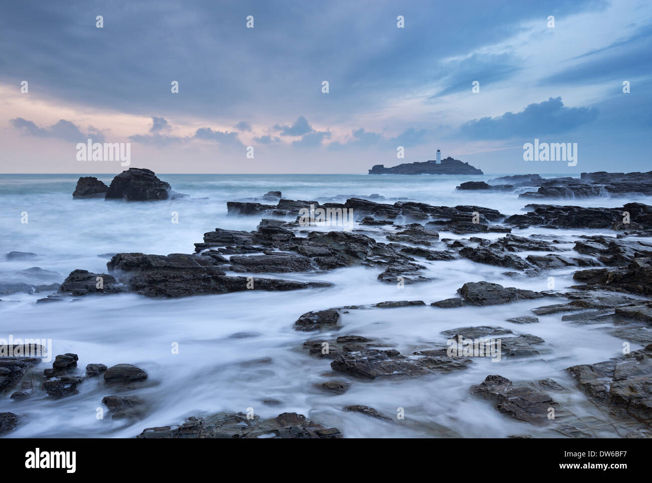 High Tide at Godrevy, looking towards Godrevy Lighthouse, St Ives Bay, Cornwall, England. Winter (January) 2014. Stock Photo