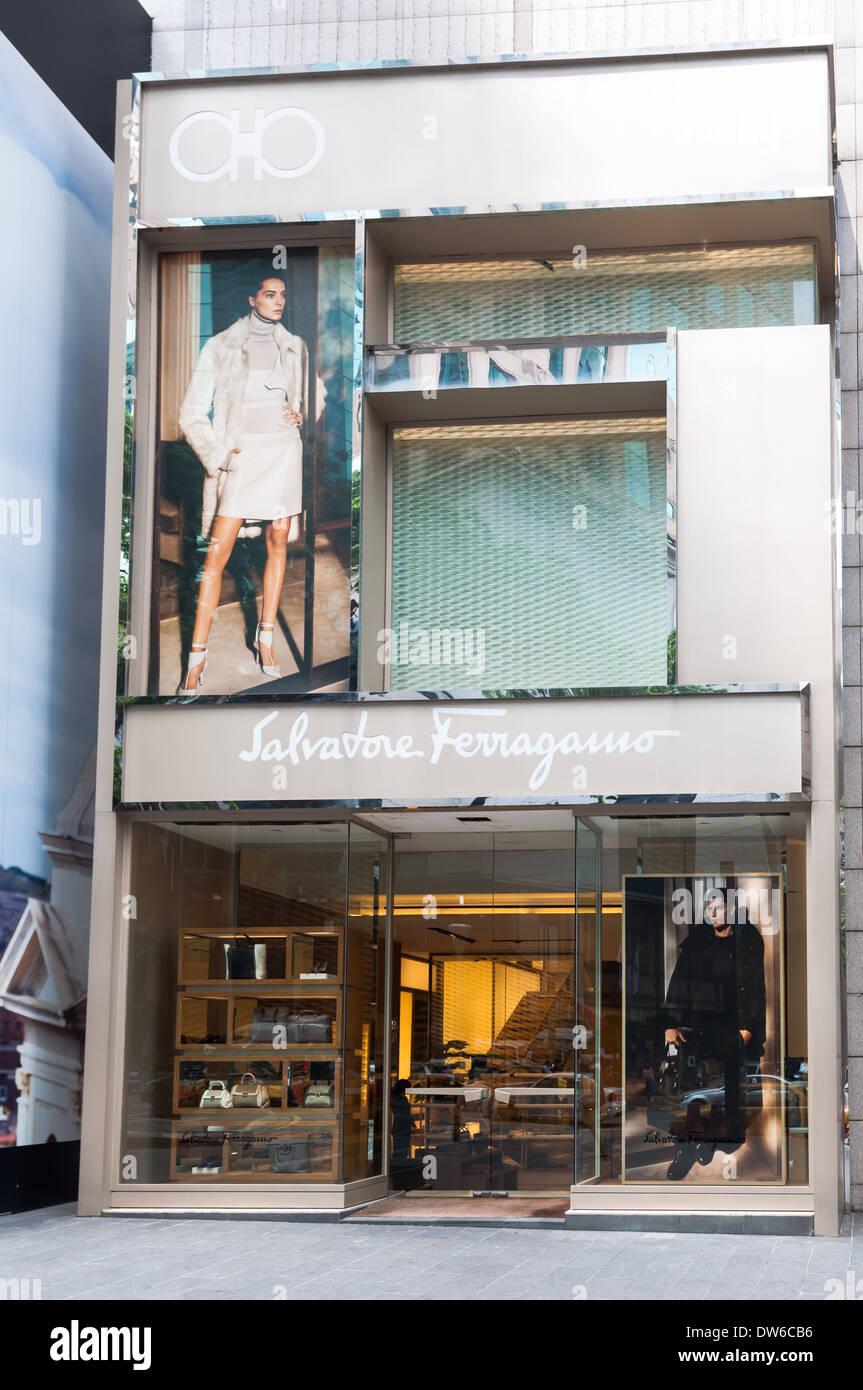 A Salvatore Ferragamo store in Bukit Bintang, Kuala Lumpur. - Stock Image