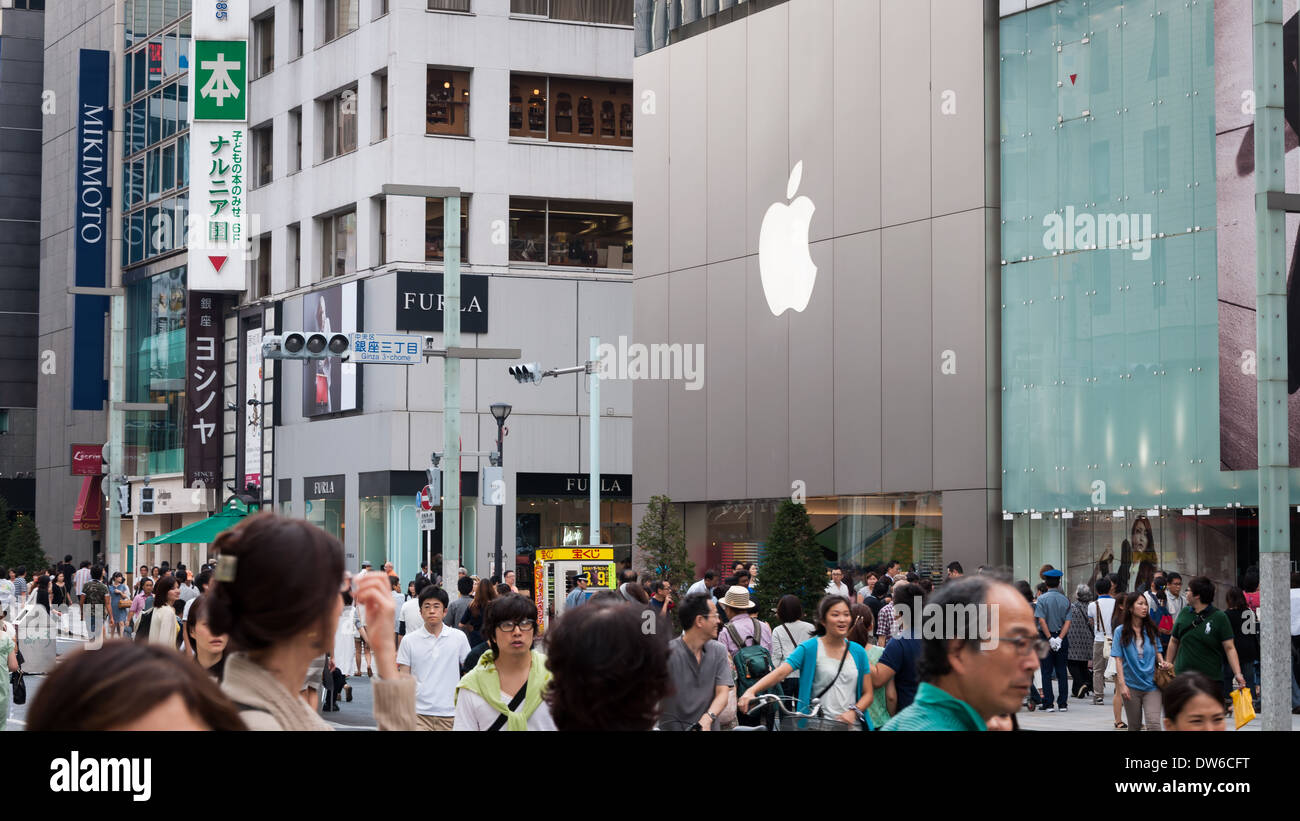 The Ginza shopping district in Tokyo, Japan. Stock Photo