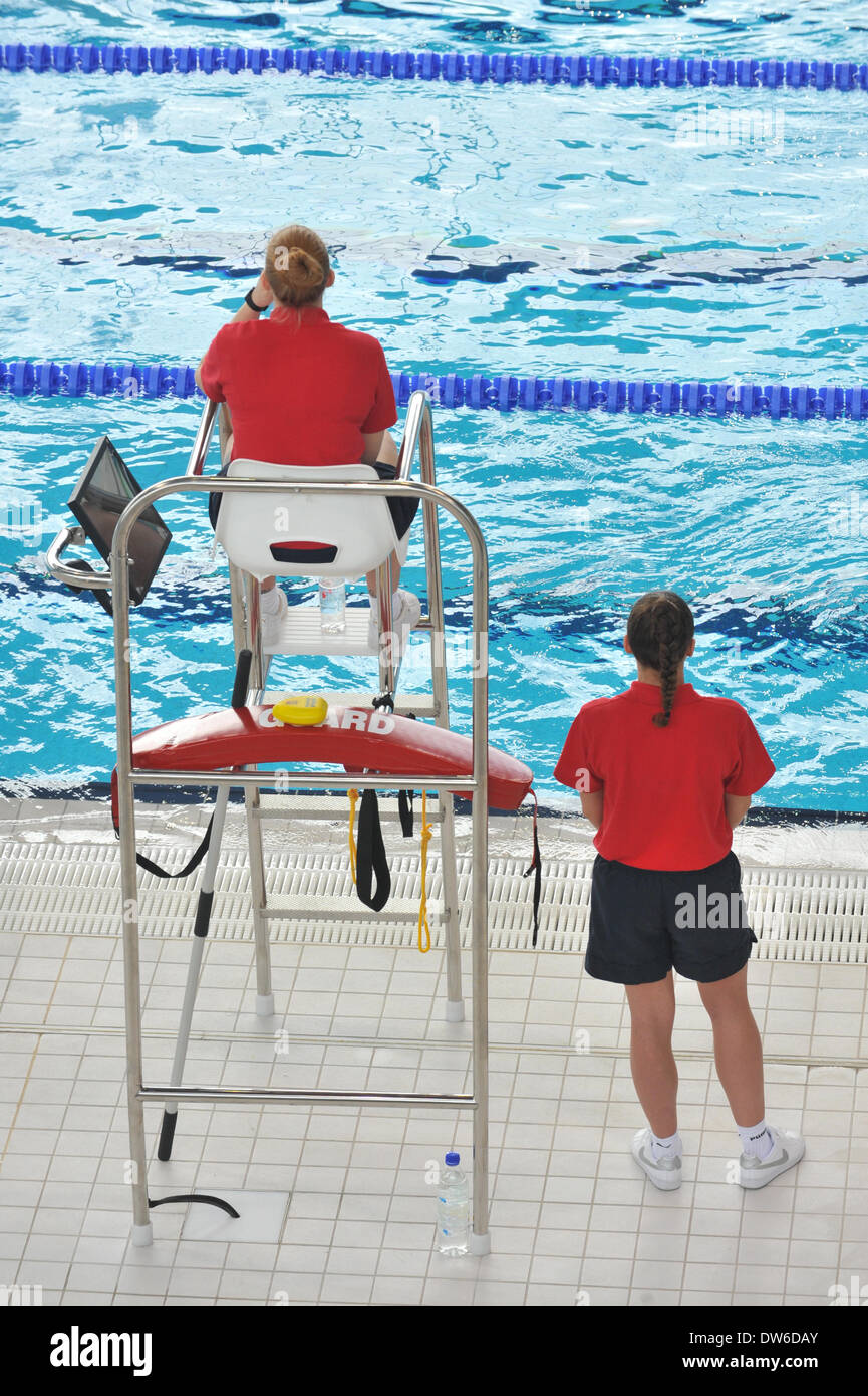 Life guards swimming stock photos life guards swimming - Queen elizabeth olympic park swimming pool ...