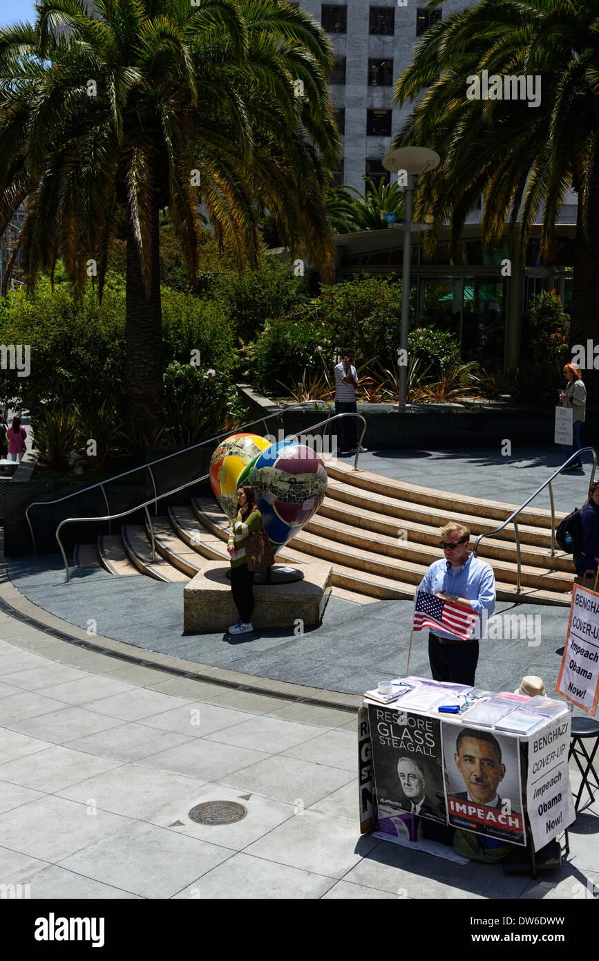 impeach president obama protest benghazi impeachment protestor union square san francisco resemble hitler larouche pac - Stock Image
