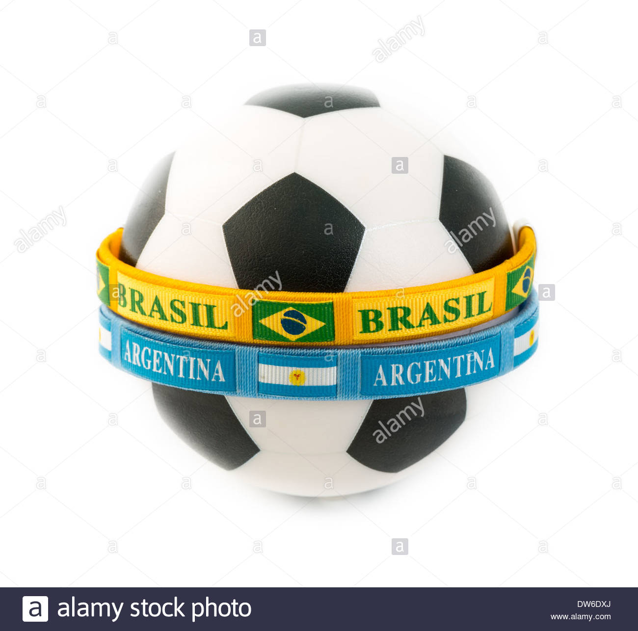 Concept of the rivalry between Brasil and Argentina in the international arena regarding the sport of soccer - Stock Image