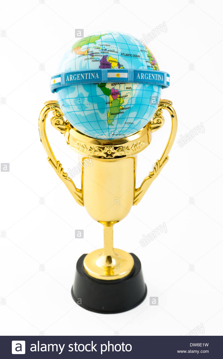 Argentinian bracelet over the globe and a trophy. Strong concept of the role of Argentina in soccer world cups - Stock Image