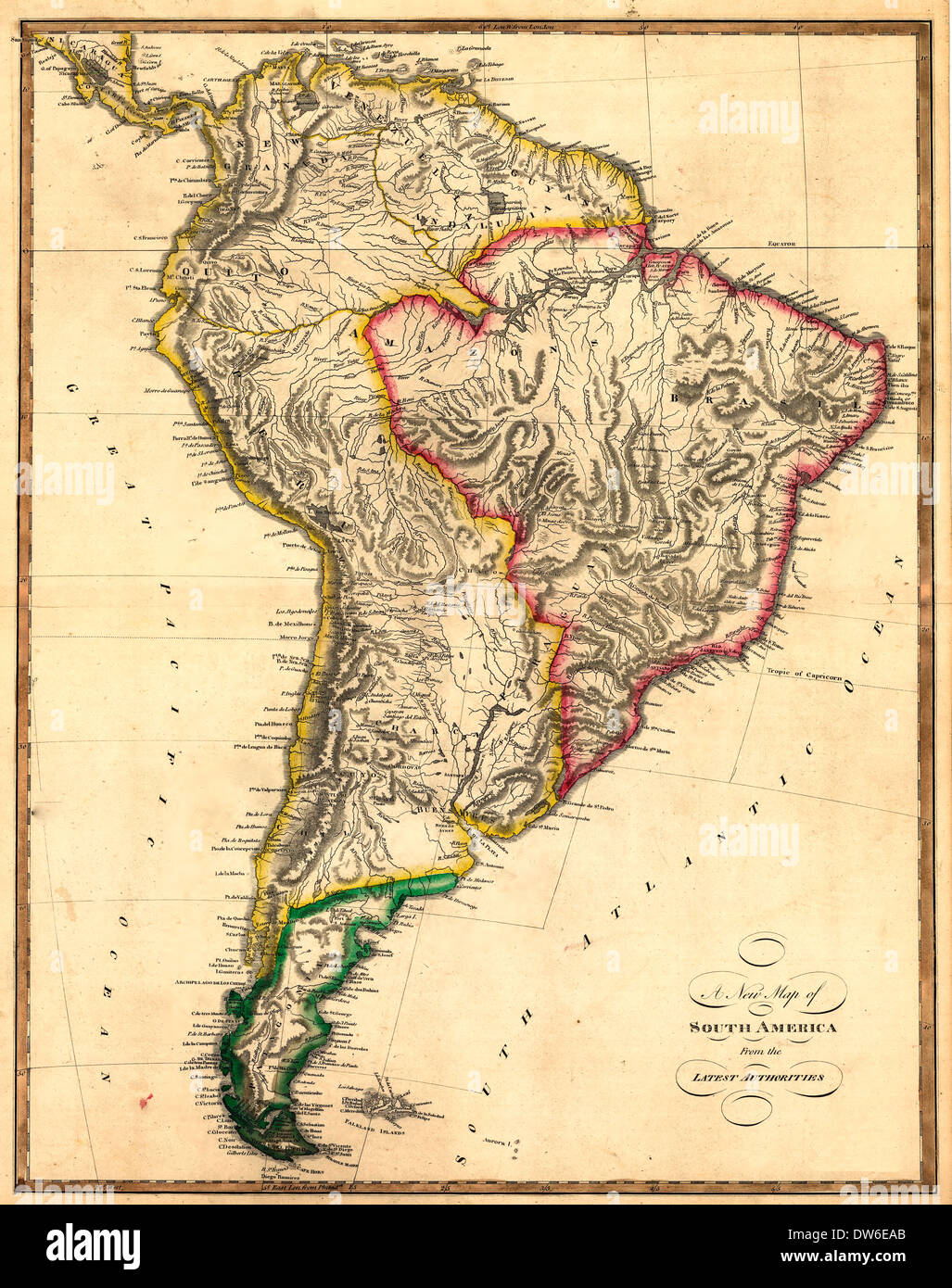 Map Of South America Spanish Stock Photos & Map Of South ...