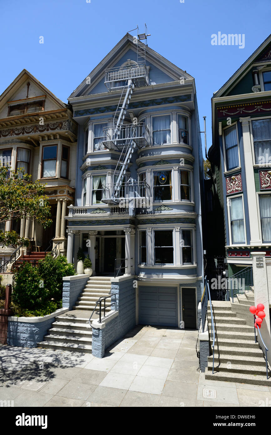painted lady victorian building history historical architecture hill san francisco - Stock Image