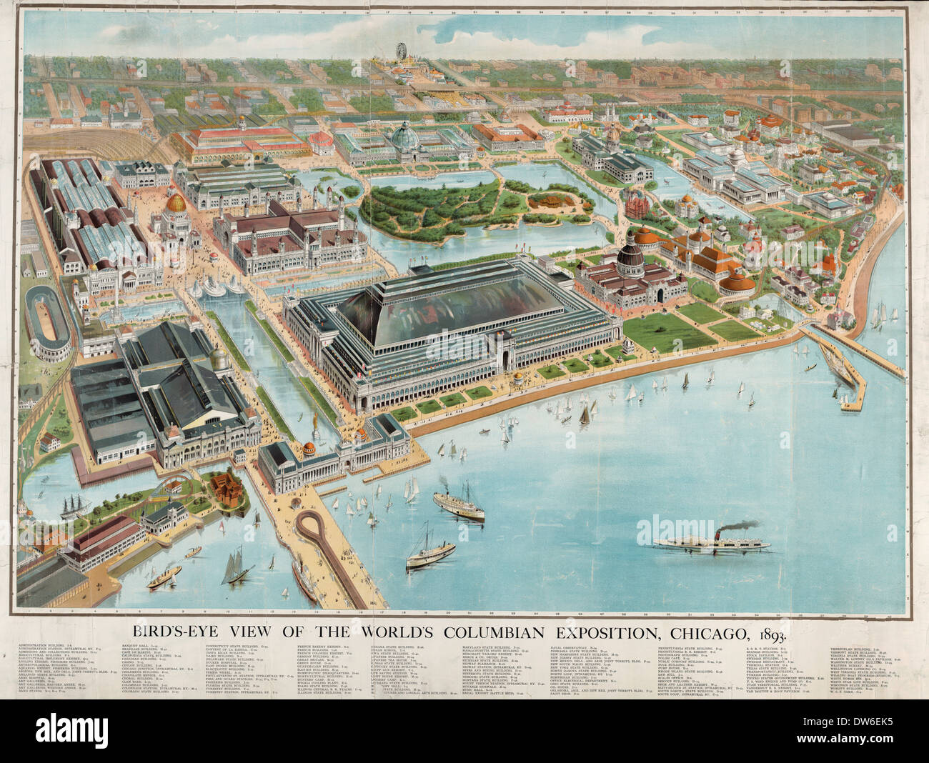 Bird's-eye view of the World's Columbian Exposition, Chicago, 1893 - Stock Image