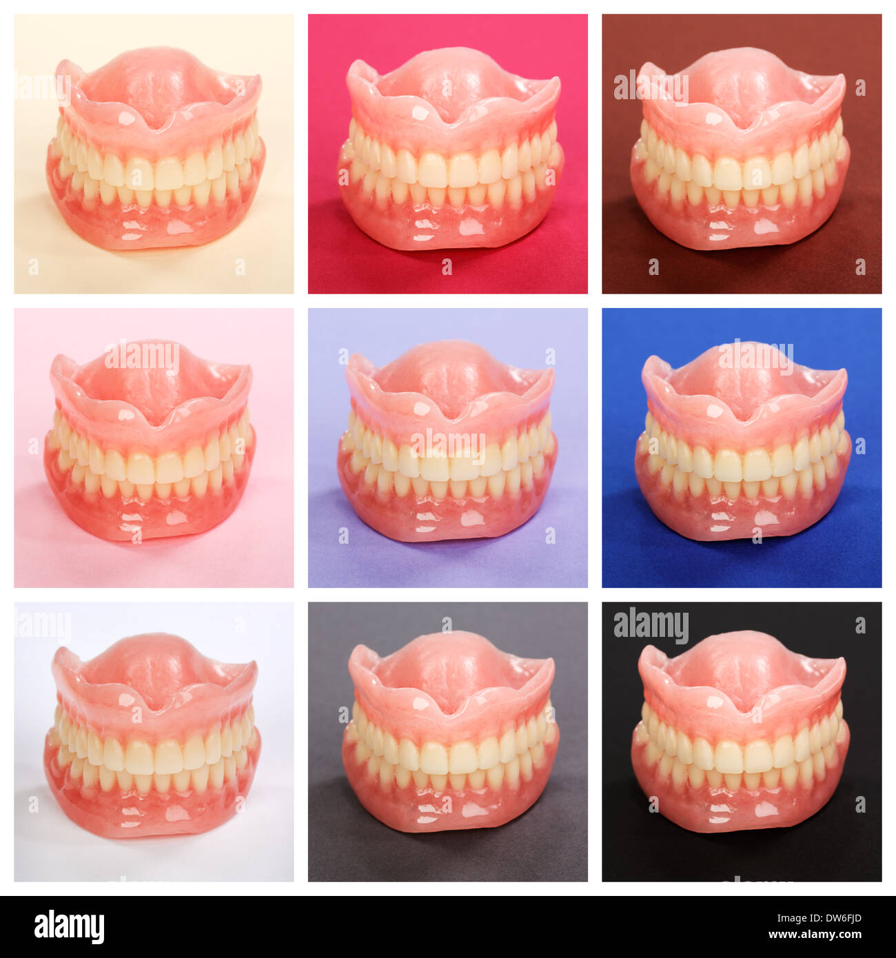 Compilation of dentures on colorful paper backgrounds - Stock Image