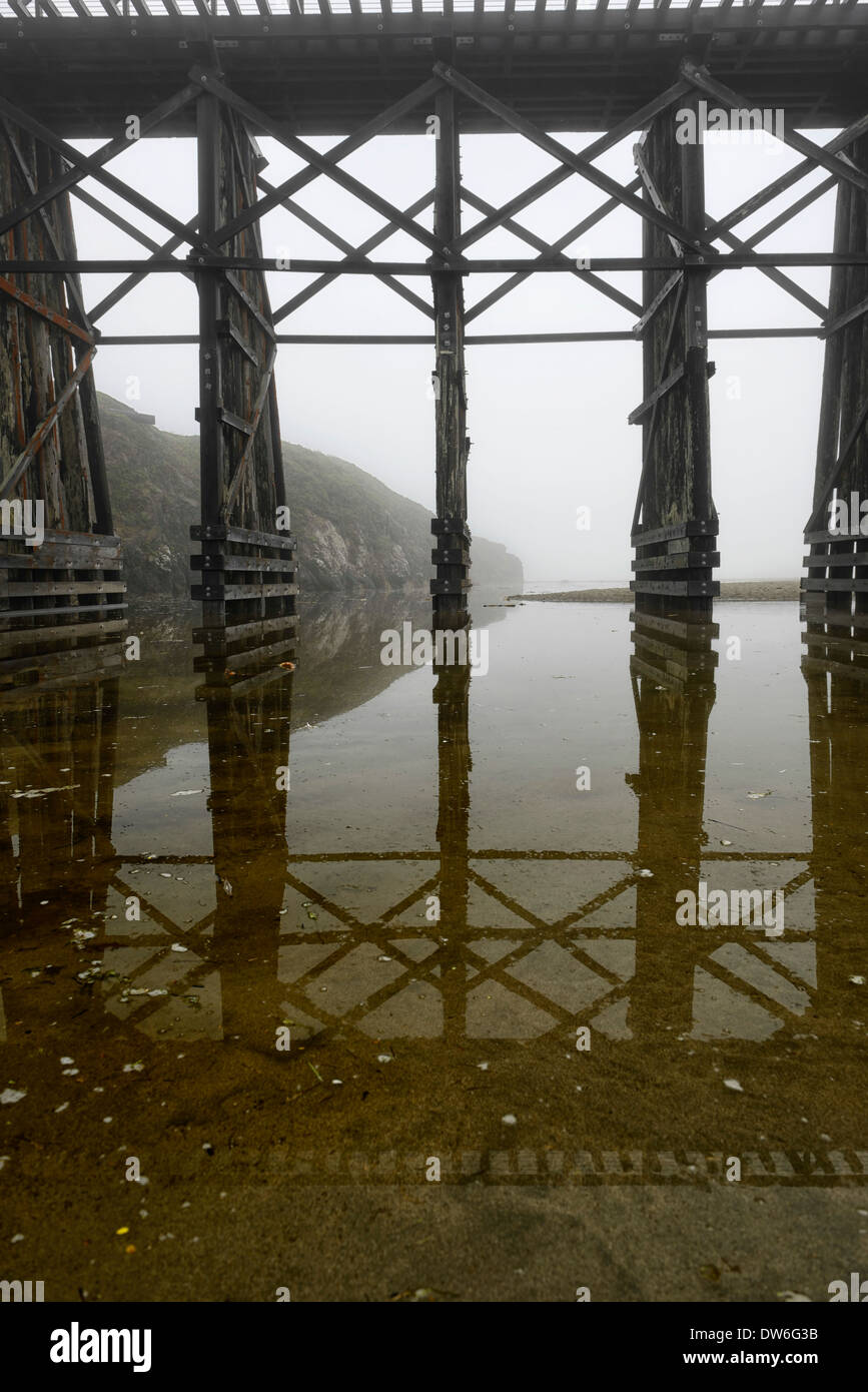 The Pudding Creek Trestle fog Fort Bragg Ten Mile Beach Trail MacKerricher State Park Mendocino California Pacific Ocean hiking - Stock Image