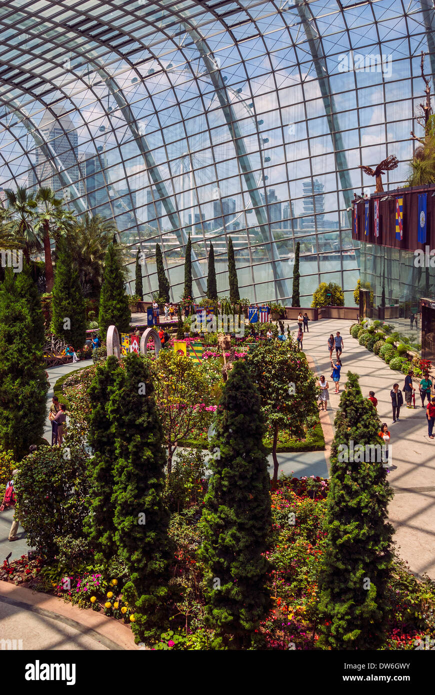The Flower Dome, Gardens by the Bay, Singapore - Stock Image