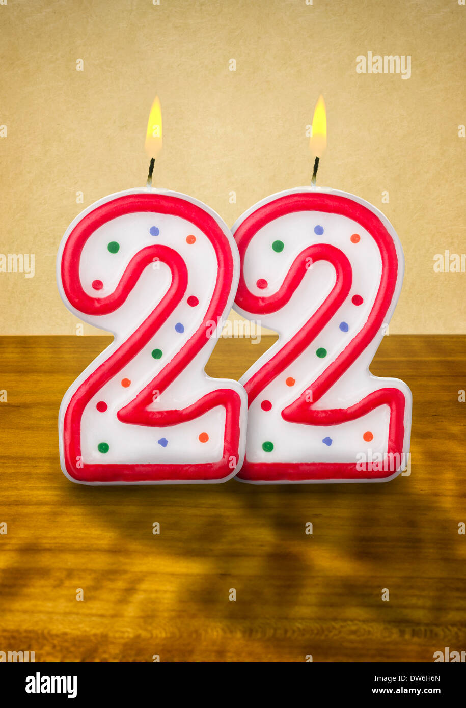 burning birthday candles number 22 stock photo 67142733 alamy