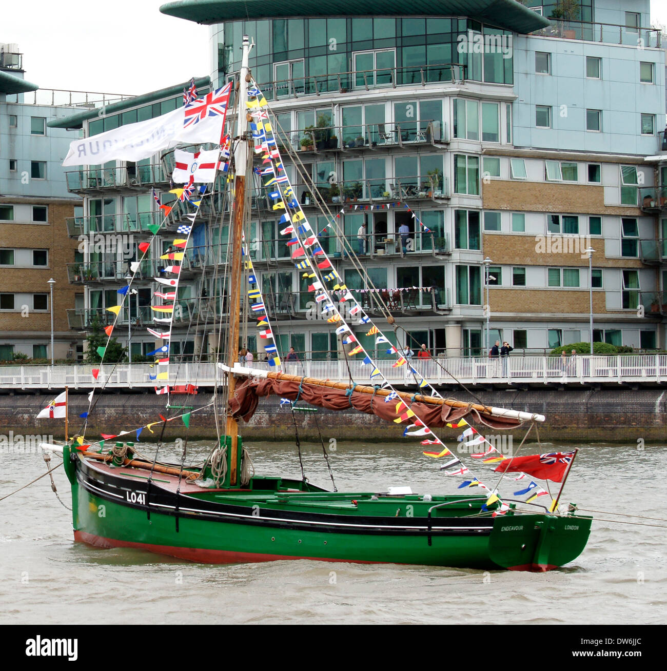 'Endeavour LO41' is a cockle boat, built in 1926. She is owned by The Endeavour Trust. A Dunkirk veteran. Stock Photo