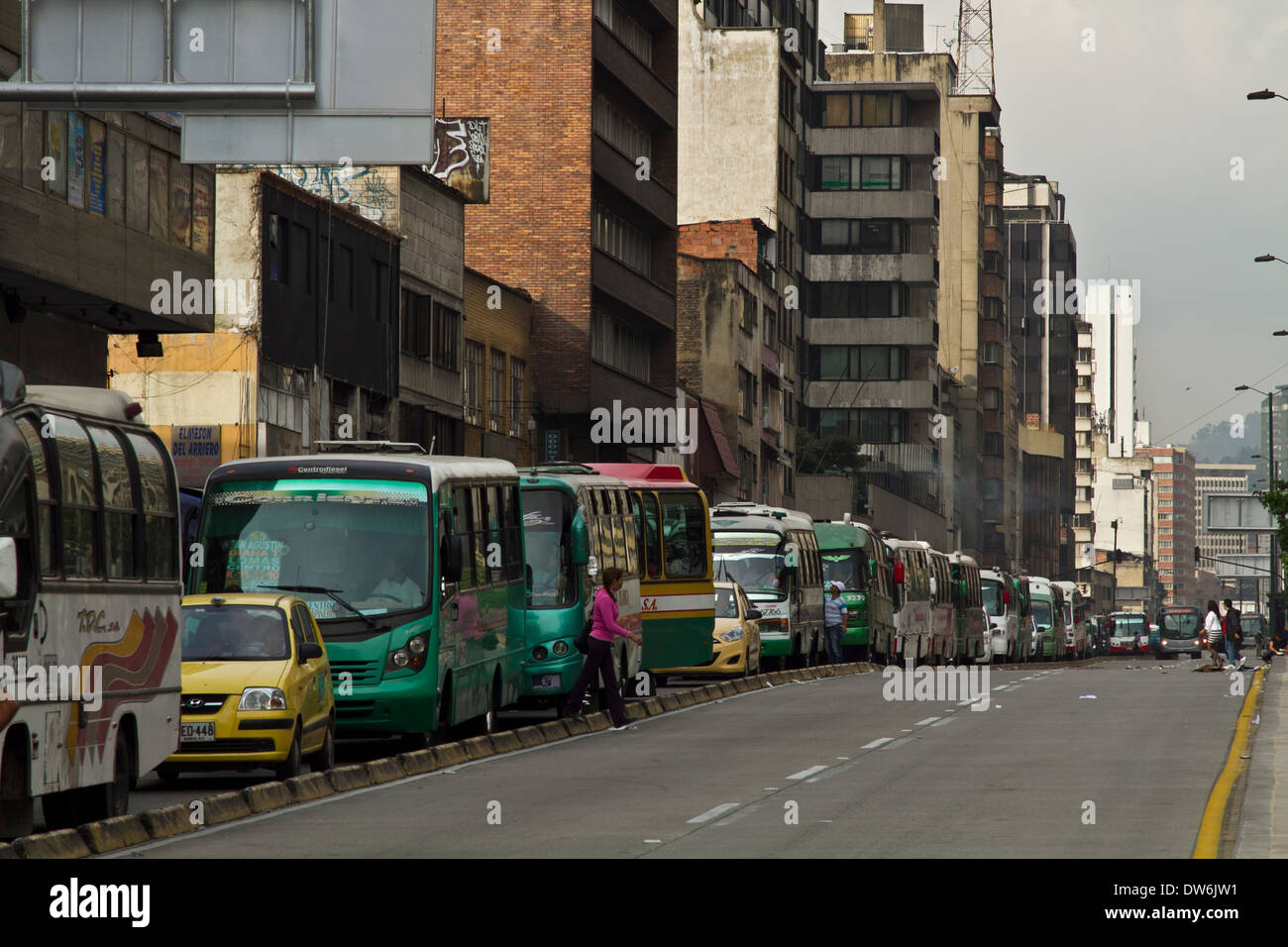 Afternoon Rush hour 10th ave Boggota, Colombia - Stock Image