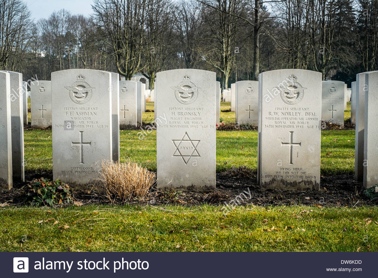 Berlin, Germany 1939 -1945 Commonwealth War Graves Commission Cemetery - Jewish Royal Air Force soldier - Star of David - Stock Image