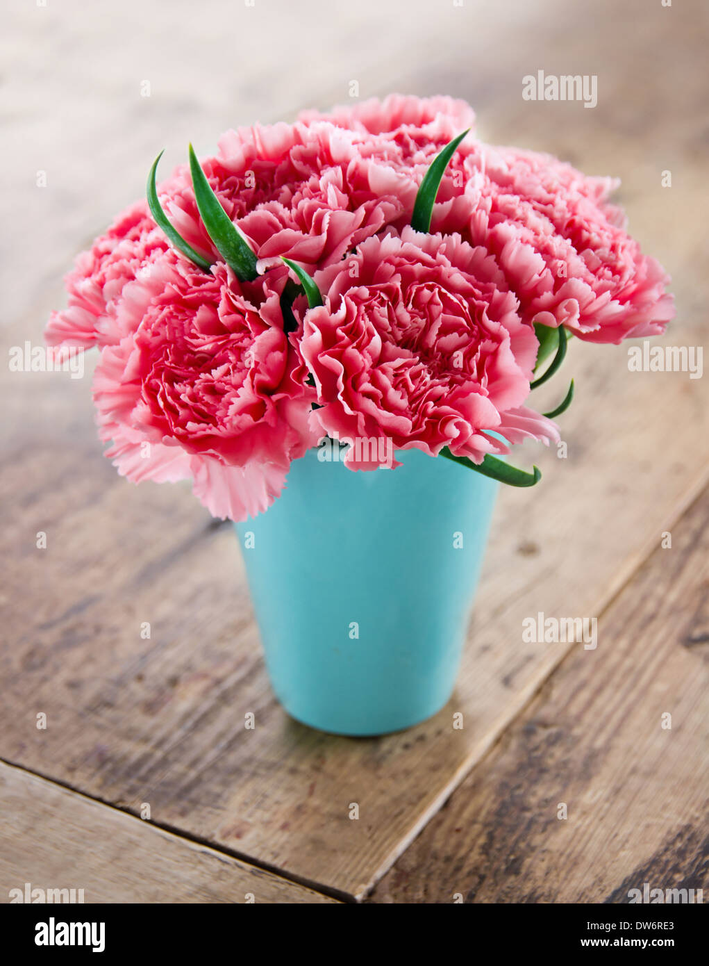 Pink carnations flower bouquet in a blue vase on rustic wooden Stock ...
