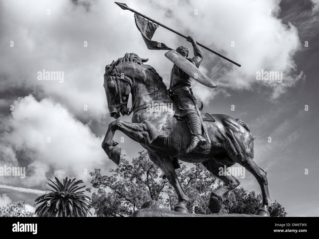 El Cid Statue at Balboa Park. In black and white. San Diego, California, United States. - Stock Image