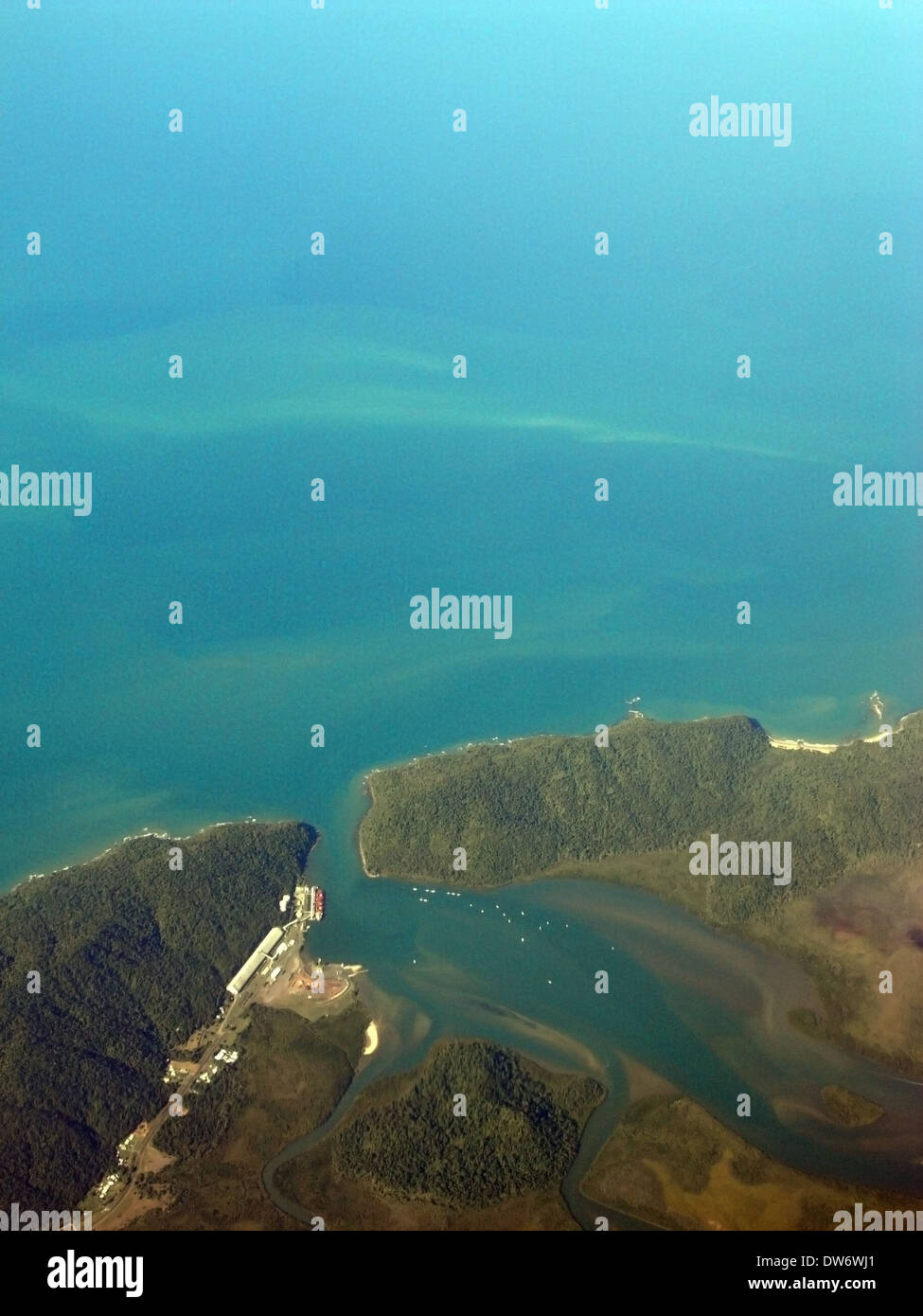 Aerial view of Mourilyan harbour, near Innisfail, Queensland, Australia - Stock Image