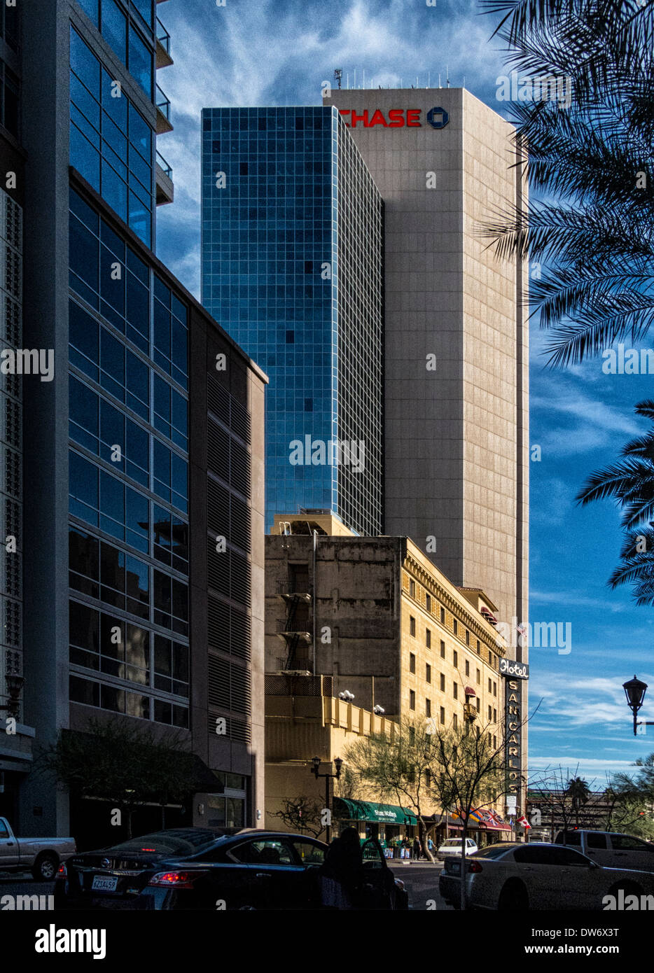 A late afternoon vertical image of central ave downtown Phoenix.the Chase Bank building is in the background - Stock Image