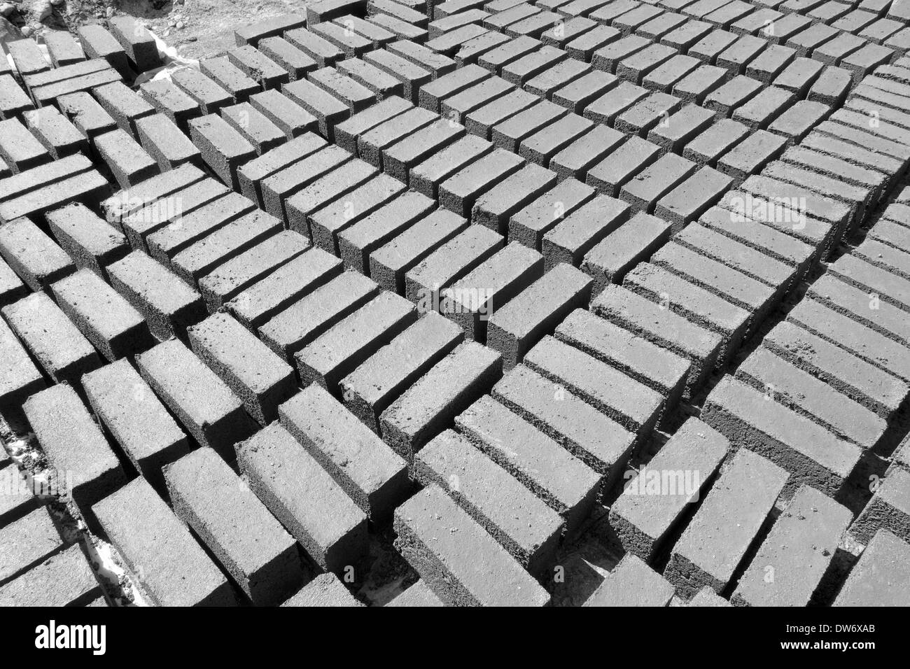Locally made concrete blocks, Jagat, Nepal. Stock Photo