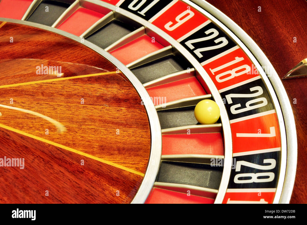 image with a casino roulette wheel with the ball on number 29 - Stock Image