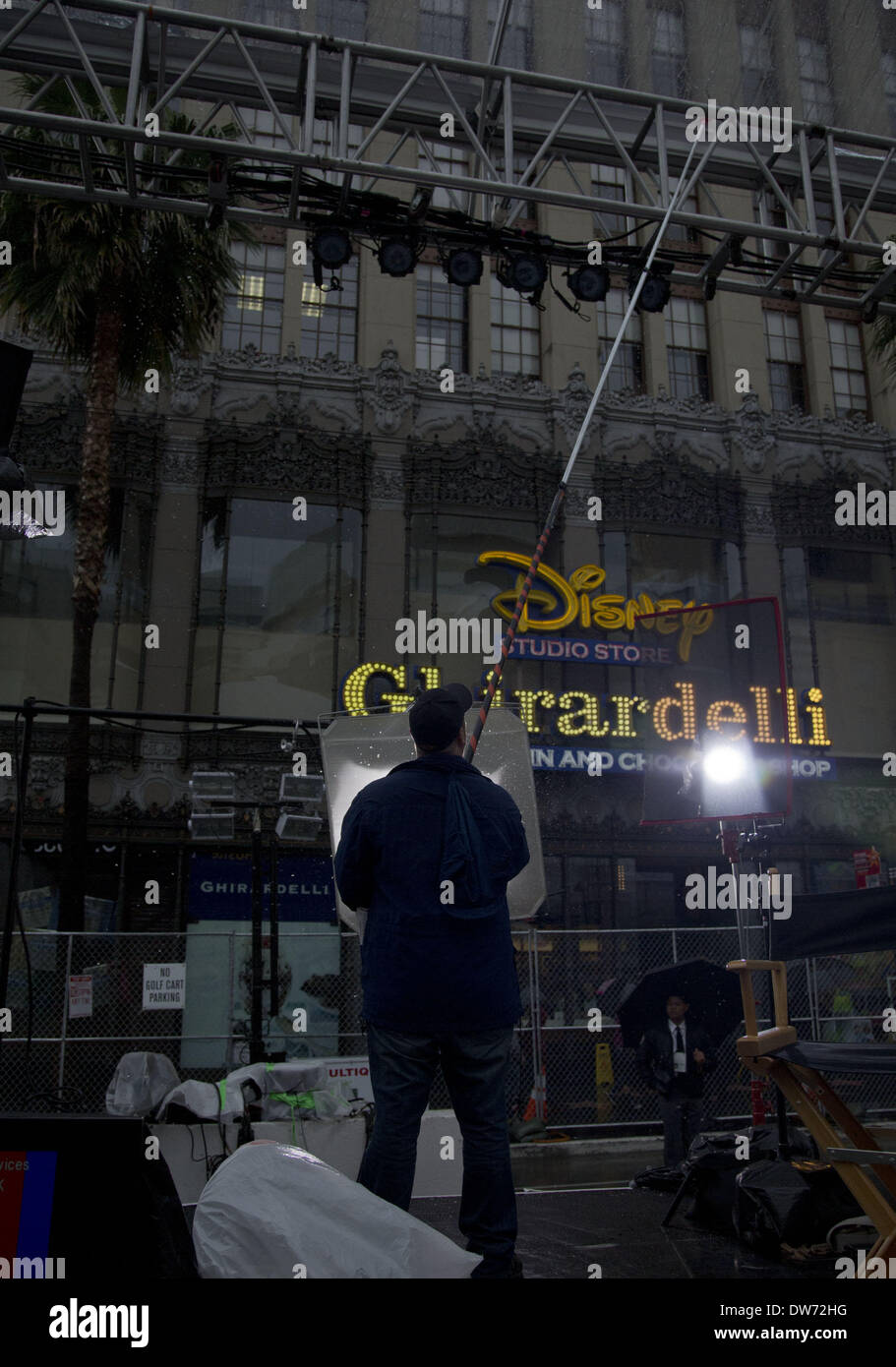 March 1, 2014 - Hollywood, CALIFORNIA, UNITED STATES OF AMERICA - On Saturday February 26, 2014, preparations are Stock Photo