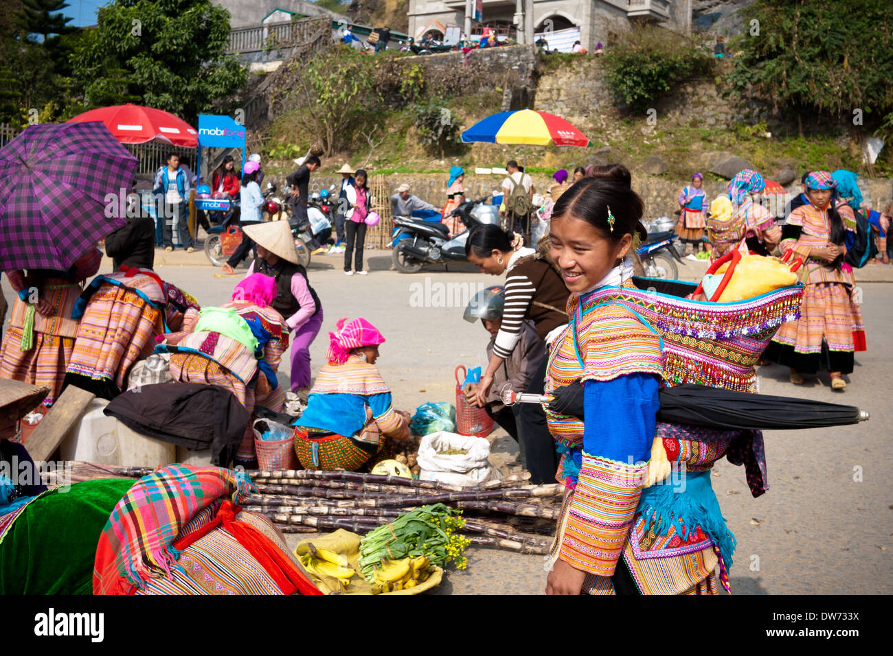 A Flower Hmong girl at the Bac Ha Market in Bac Ha, Vietnam. - Stock Image