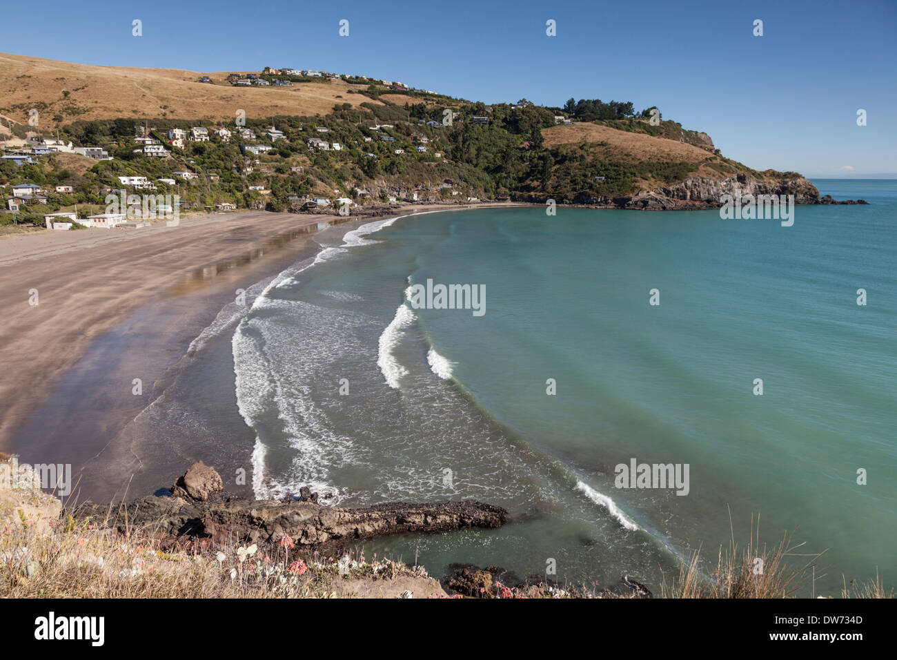 Taylor's Mistake, Banks Peninsula, New Zealand. The origin of the name isn't known for certain, but is often - Stock Image