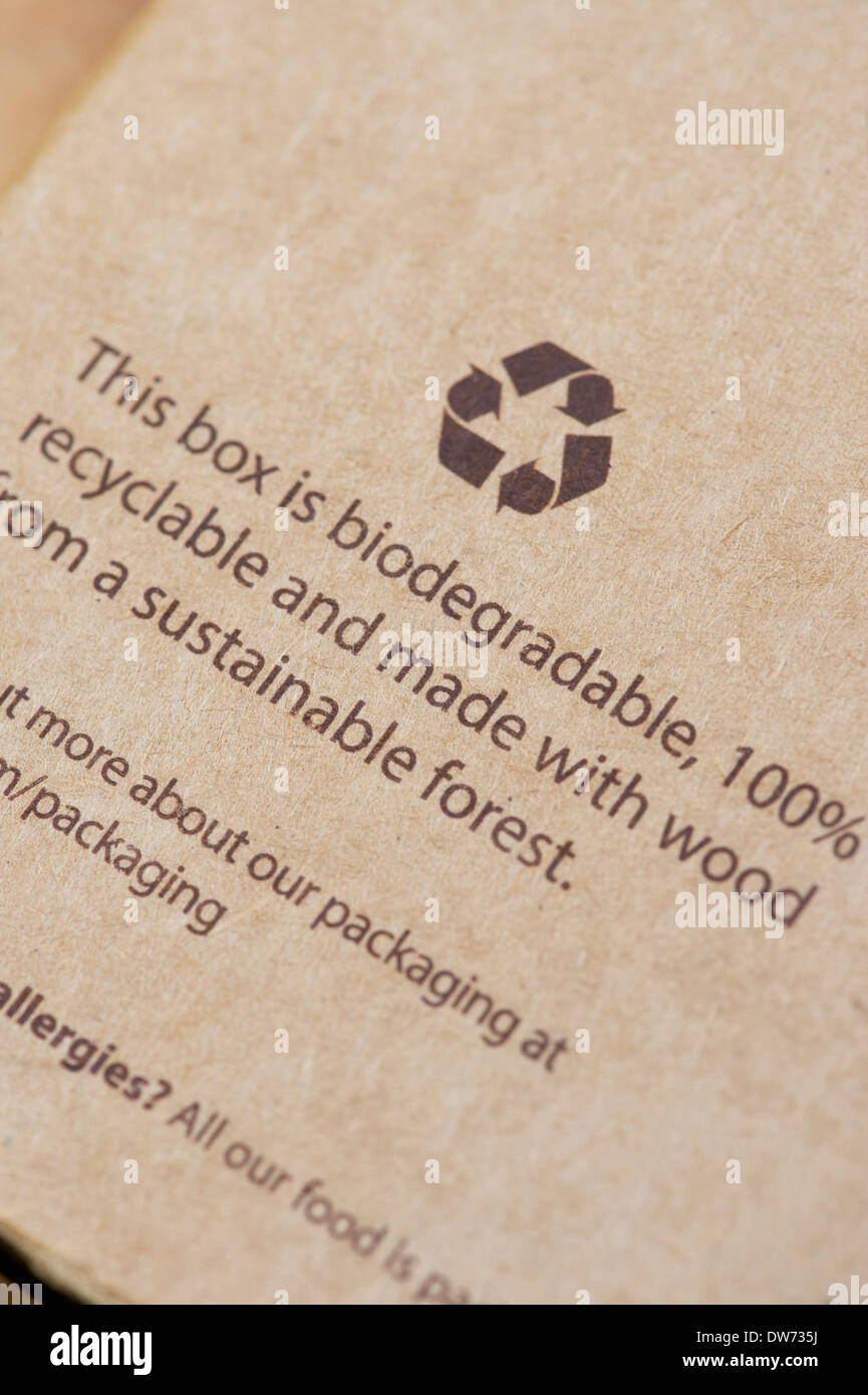 Recyclable biodegradable cardboard box made with wood from a sustainable forest - Stock Image