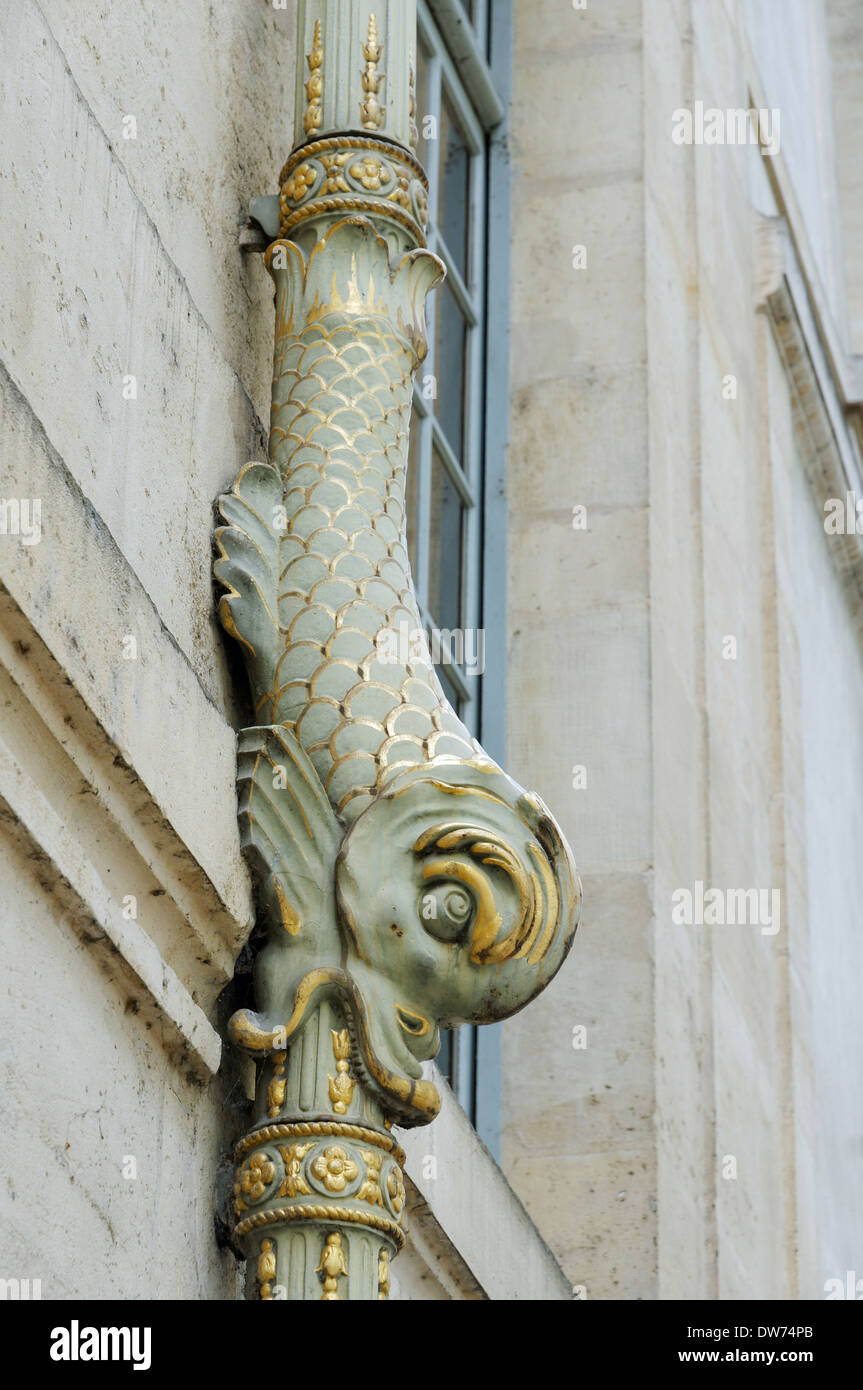 A dolphin detail on a drainpipe in Paris, France - Stock Image
