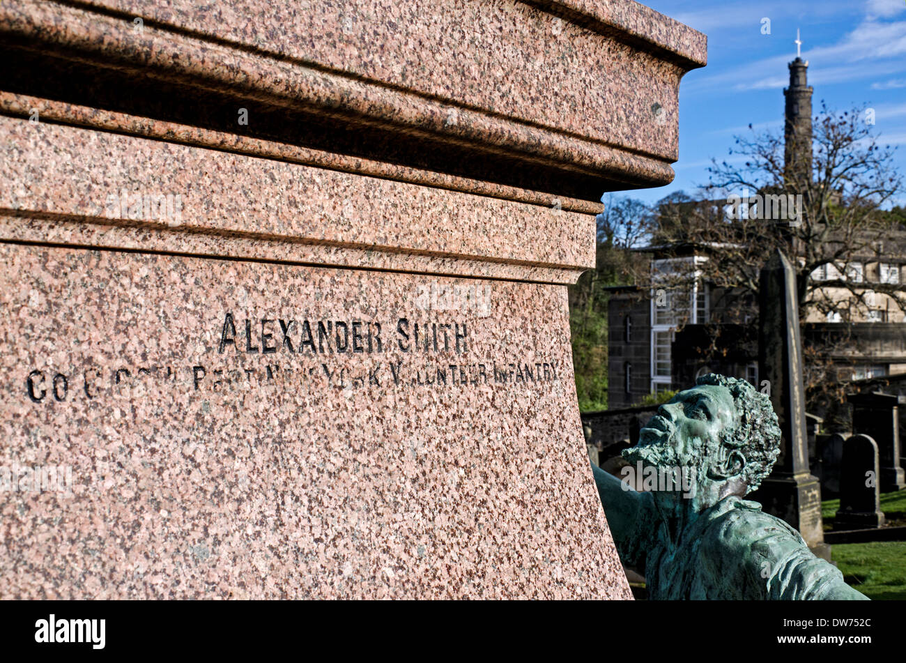 Detail of the inscription on the memorial to Scottish Americans who fought in the American Civil War, Old Calton Stock Photo