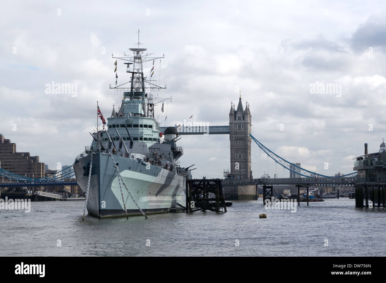 HMS Belfast Moored in The Pool of London -1 - Stock Image